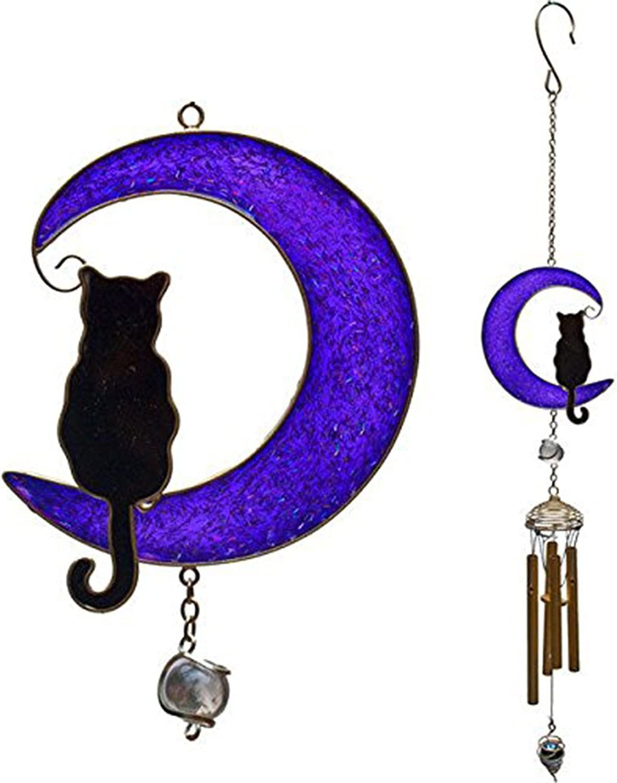 Jones Black Cat on a Moon Wind Chime