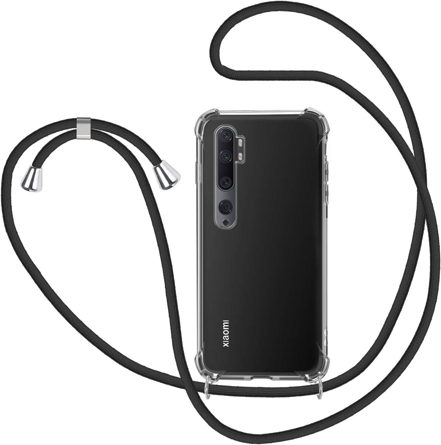 Bigcousin Funda con Cuerda Compatible con Xiaomi Mi Note 10//CC9 Pro,Transparente de TPU con Ajustable Collar Cadena Cord/ón,Multicolor