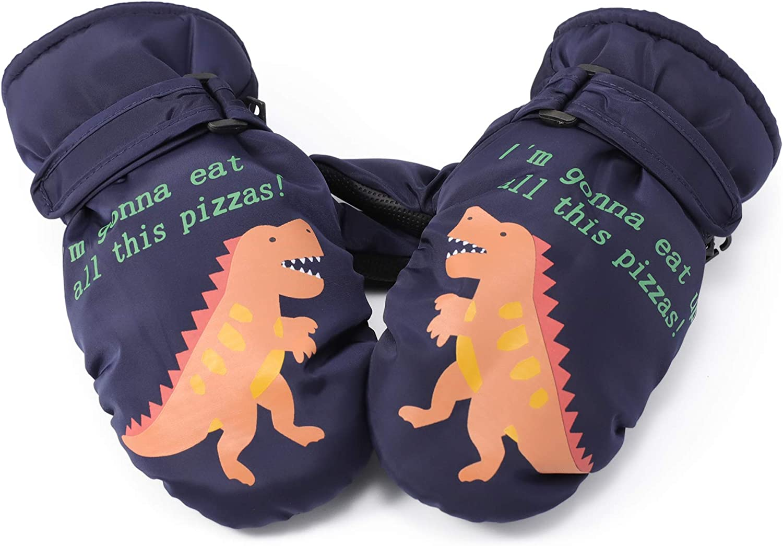 Flammi Kids Ski Mittens Water-Resistant Winter Plush Lined Snow Mittens Dinosaur Gloves for Boys Girls 4-8 Years