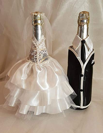 Amazon Com Bride And Groom Wine Bottle Covers Wine Bottle Dress
