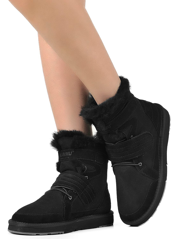 AU&MU Women's Full Fur Sheepskin Suede Winter Snow Boots B073DZZP4Q 7 B(M) US|Black 4
