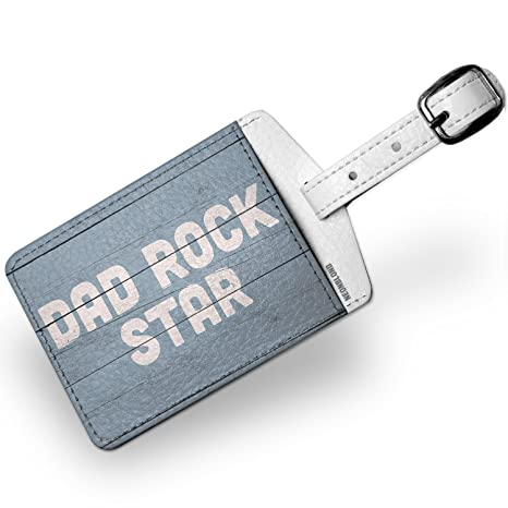 Amazon.com | Luggage Tag Dad Rock Star Fathers Day Blue Vintage Wood Planks - NEONBLOND | Luggage Tags