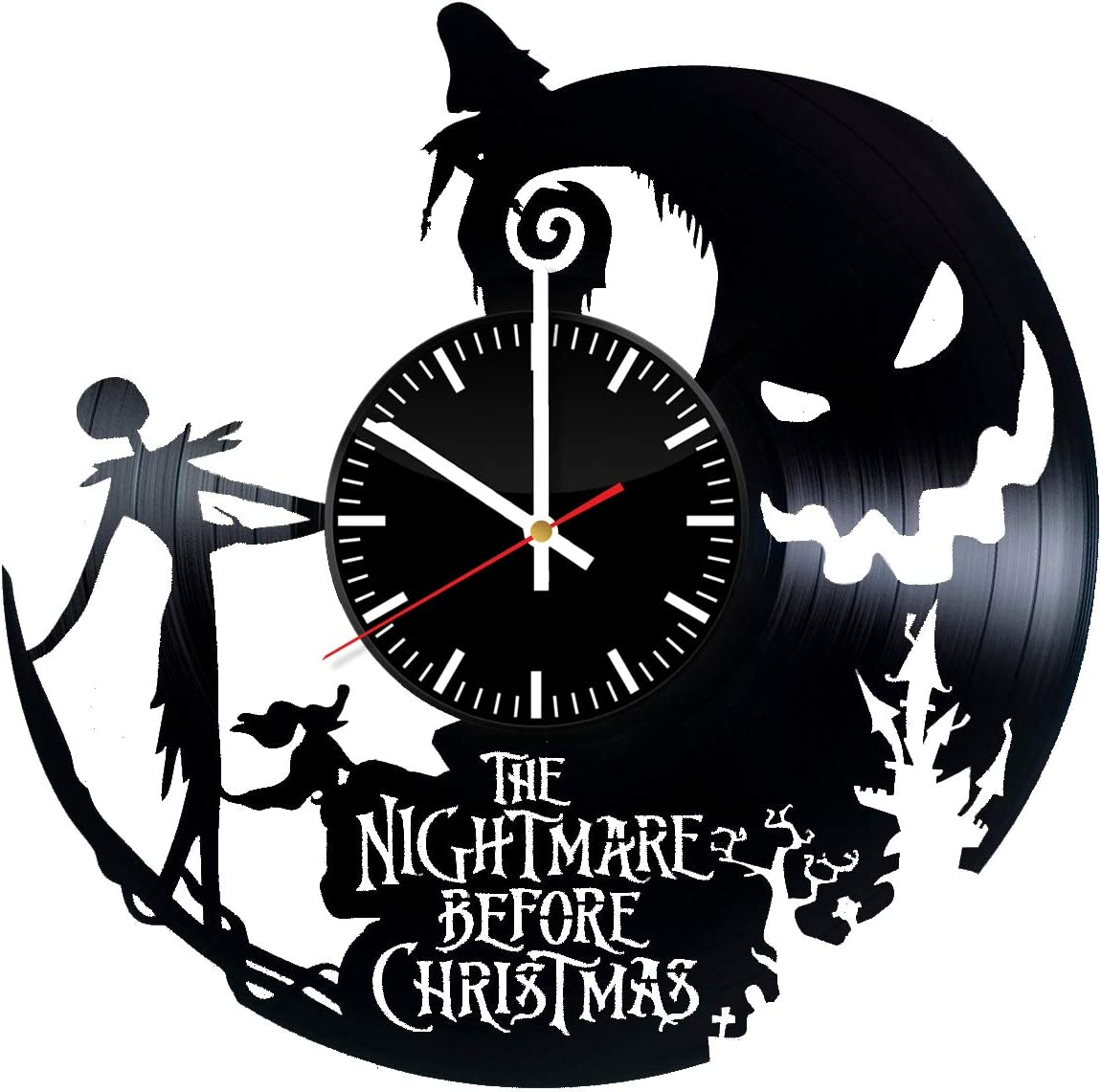 Nightmare Before Christmas Jack Oogie Boogie Vinyl Clock - Nightmare Art Room Decor Handmade Decoration Party Supplies Theme - Best Original Present Gift Idea - Vintage and Modern Style