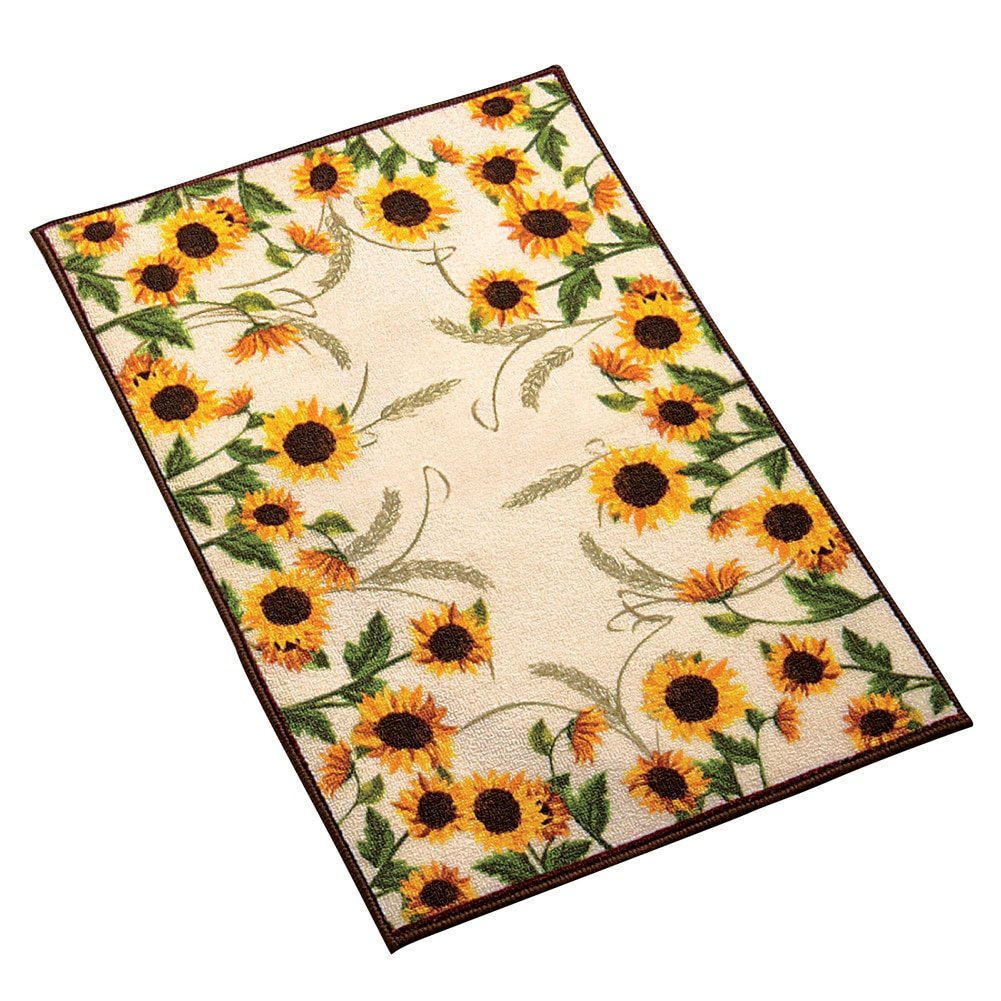 Collections Etc Autumn-inspired Sunflower Harvest Rug, Yellow, 20 X 30 20 X 30