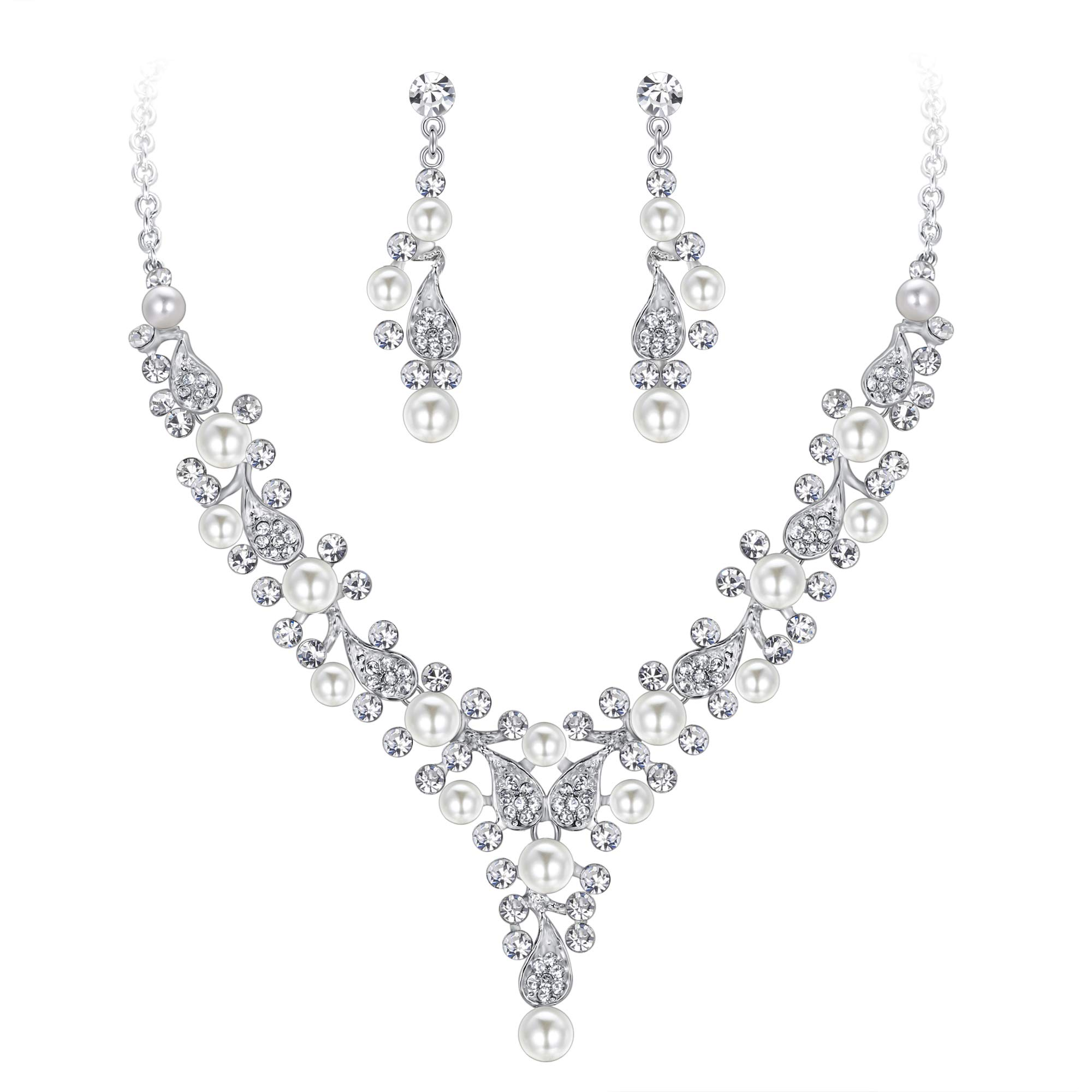 EVER FAITH Crystal Simulated Pearl Elegant Wedding Drop Necklace Earrings Set Clear Silver-Tone