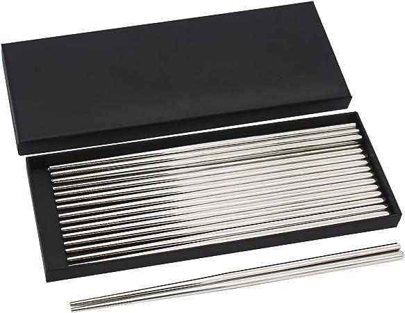 Bingolar 304 Palillos de Metal de Acero Inoxidable,Palillos Reutilizables,Palillo de 10 Pares palillo Chino para la Cena, fácil de sostener, Apto para lavavajillas, cocinar Fideos para freír.: Amazon.es: Hogar