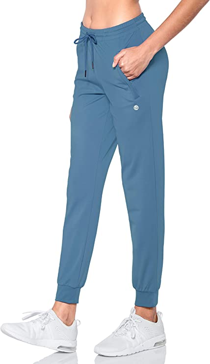 G Gradual Women's Joggers Pants with Zipper Pockets Tapered Running Sweatpants for Women Lounge, Jogging (Slate Blue, Small) best women's joggers