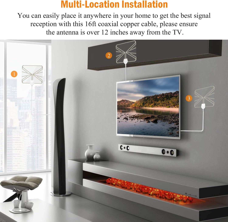 Antena de TV Pupgang amplificada para interiores, antena HDTV digital de rango de 100 millas, amplificador de señal de señal para TV 4K 1080P HD VHF UHF todos los canales locales FreeView,