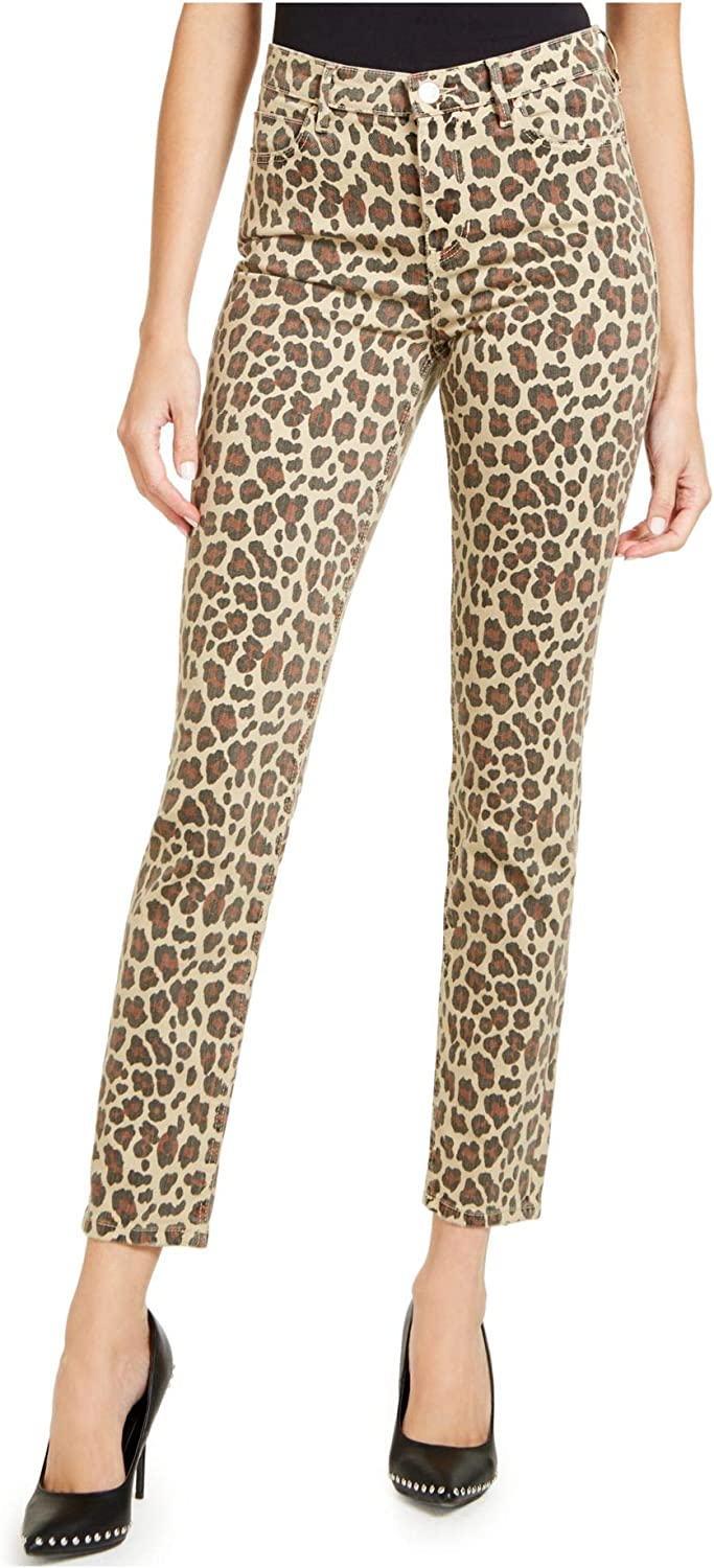 GUESS Womens Brown Animal Print Skinny Jeans Size 28 Waist