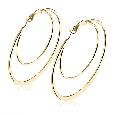 40a1b453b Hoop Earrings 14k Gold Plated Big Multi Ring earrings Unique Flattened Jewelry  Earring For Mother's Day