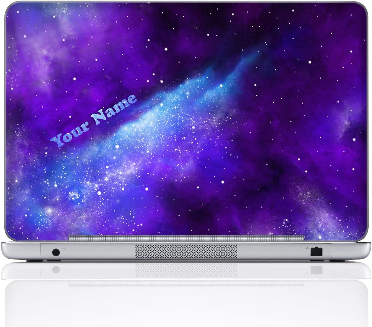 Meffort Inc Personalized Laptop Notebook Notebook Skin Sticker Cover Art Decal, Customize Your Name (15.6 Inch, Galaxy Universe)