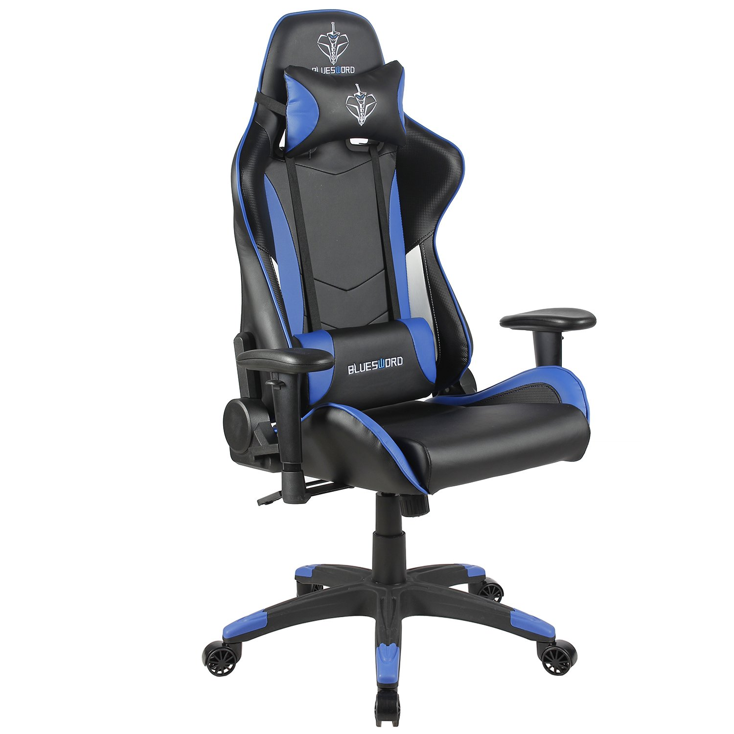 BLUE SWORD Carbon Fiber Gaming Chair Large Size Racing Style High-back Adjustment Office Chair With Lumbar Support and Headrest White&Blue, BS004