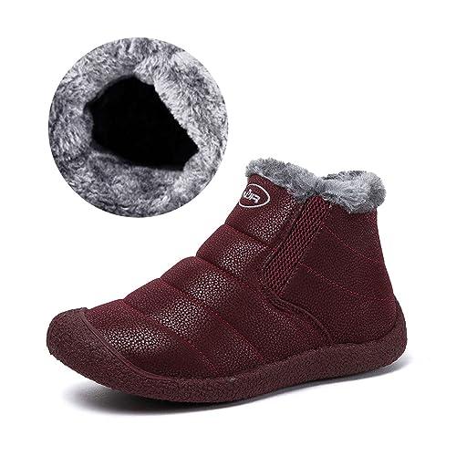 Mujer Botas de Nieve Zapatos, Gracosy Impermeables Calientes Botines Forradas Cortas Tobillo Boots Planas Invierno Zapatos Cortas Fur Aire Libre Boots ...