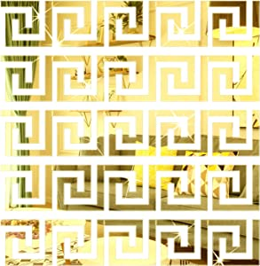 SelfTek 30Pcs DIY Mirror Stickers Removable Adhensive Wall Stickers Decals for Home Art Room Bedroom Background Decoration (Geometric Greek Key Pattern)