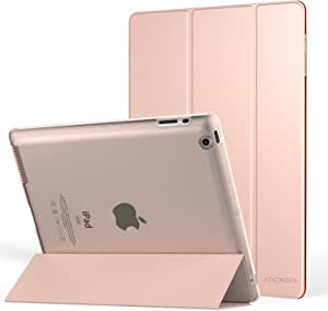 MoKo Case Fit iPad 2/3/4 - Ultra Lightweight Slim Smart Shell Stand Cover with Translucent Frosted Back Protector Fit iPad 2/The New iPad 3 (3rd Gen)/iPad 4, Rose Gold (with Auto Wake/Sleep)