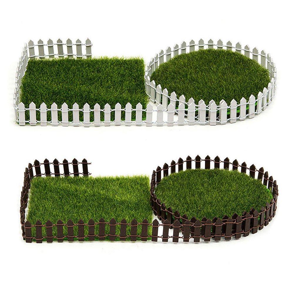 5X Wooden Palisade Fence Garden Ornament Accessory Plant Pot Fairy  Decor HH