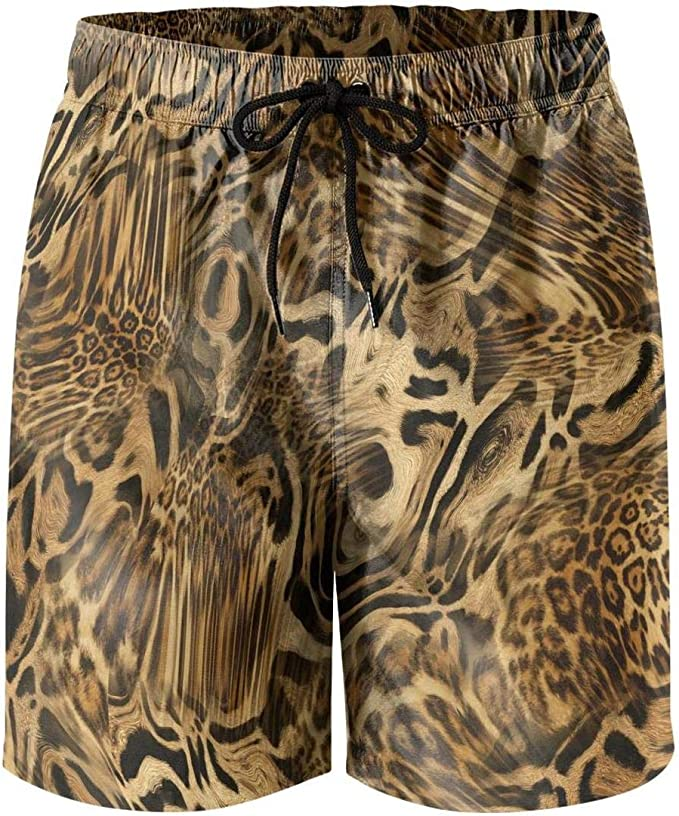 Mens Swim Trunks Quick Dry Beach Shorts with Mesh Lining Colorful Leopard Pattern Print