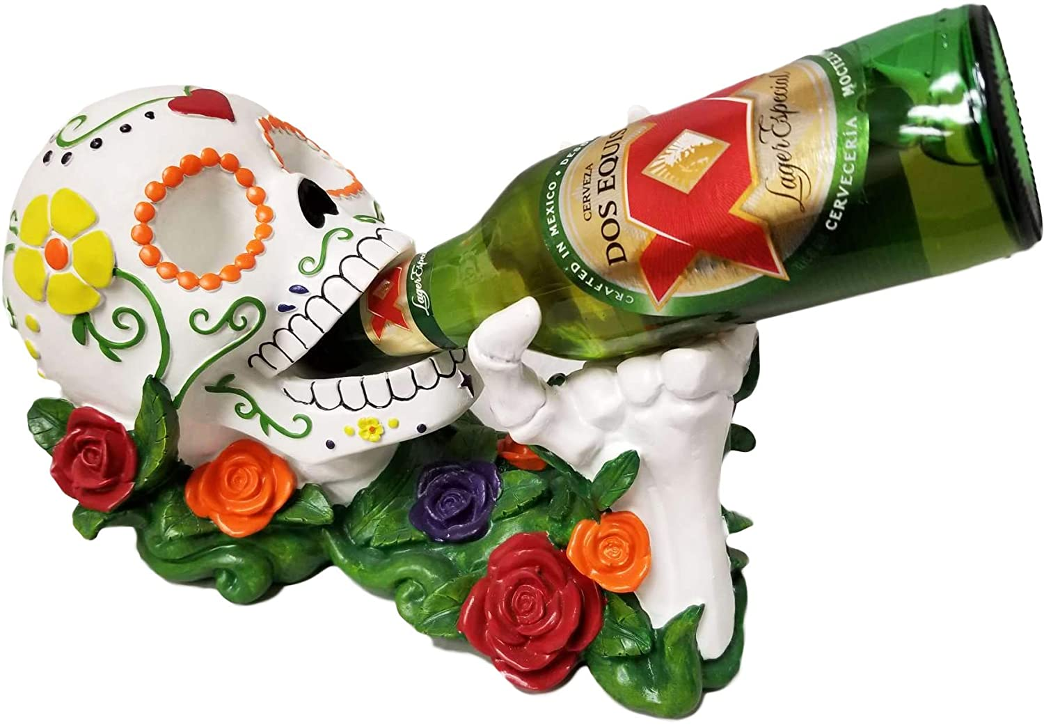 World of Wonders - Vin Los Muertos - Day of The Dead Sugar Skull Tabletop Wine Display Rack Beverage Holder Bottle Caddy Dia de Los Muertos Statue Home Décor Dining Accent, 11-inch