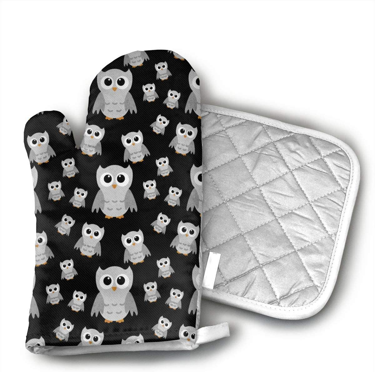 VFSFJKBG Grey Owl Oven Gloves, High Heat Resistance, Machine Washable High Heat Resistant Polyester Filling for Thanks Giving, Christmas