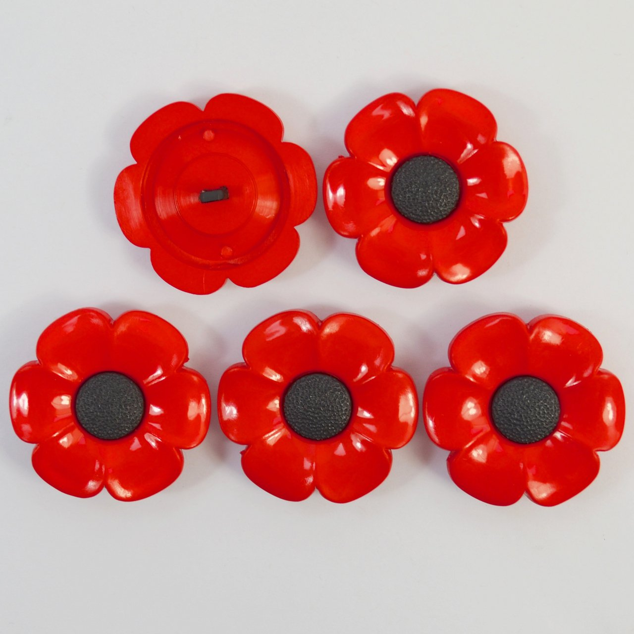38mm Diameter Shank Back Red Flower Craft 5 X Large Resin Poppy Buttons
