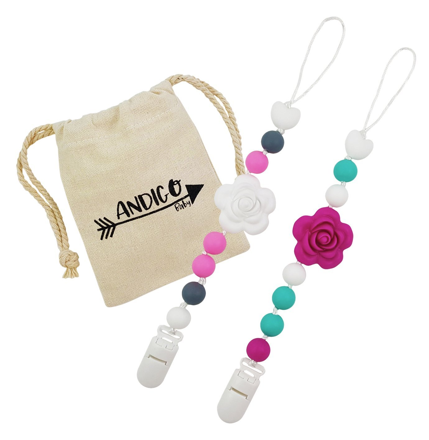 Pacifier Clip Holder - 2 in 1 - with Silicone Teething Beads, for Girls, Boys, Unisex, Set of Two, Compatible with MAM, Soothie, NUK, Tommee Tippee and Other Pacifiers - Flower - Fuchsia AND.IGO