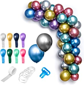 Hautton Balloon DIY Arch Garland Kit, 50 Pcs 12 Inch Metallic Balloons, 16 Ft Decorating Strip Tape, 100 Dot Glue, 1 Tying Tool for Birthday Wedding Baby Shower Christmas Party Decoration