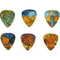 Celluloid Guitar Picks, Plectrum Vincent Van Gogh, Pack of 12, Medium Guage