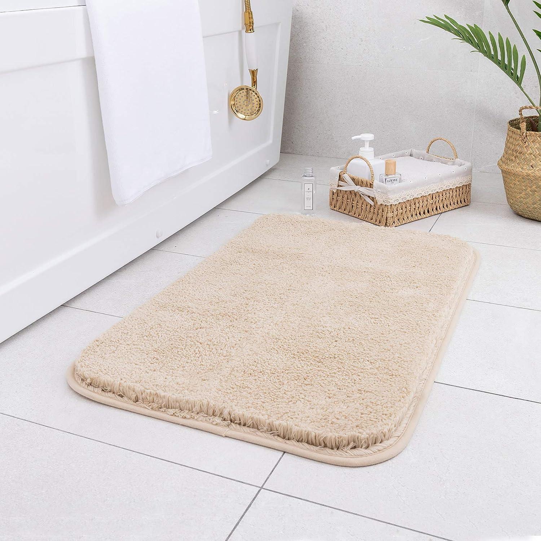 Carvapet Non-Slip Bathroom Rug High Water Absorbent Bath Mat Microfiber Soft Plush Shaggy Bath Rug, 20 by 32 inches, Beige