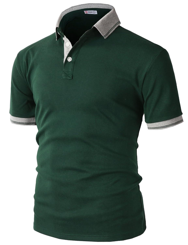 【H2H】 メンズ カジュアル ゴルフウェアー ファッション ベーシック 無地 スリームフィット ワンポイント 半袖 ポロシャツ B07CH9LP4C  Kmtts0560-green Large