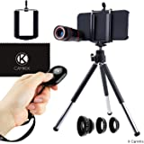 Lens and Bluetooth Shutter Remote Kit for Apple iPhone 5s / 5 / SE - Includes Bluetooth Camera Remote, 8x Telephoto, Fisheye, Macro and Wide Angle Lens, Tripod, Holder, Case, Cleaning Cloth