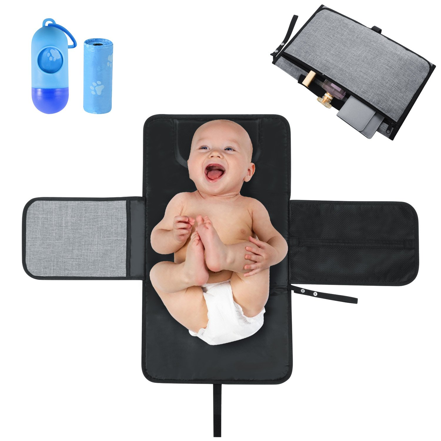 Portable Nappy Changing Mat, Zonlicat Waterproof Diaper Changing Pad with Head Cushion Pockets, Foldable Travel Baby Hand Bag Size Changing Mat Kit Include 15 Disposable Bags