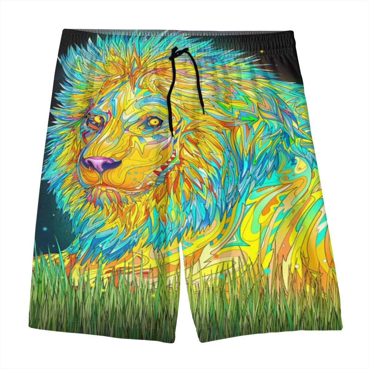 Cool Modern Lion Art Safari Wild Coloful Teen Swim Trunks Bathing Suit Shorts Board Beach