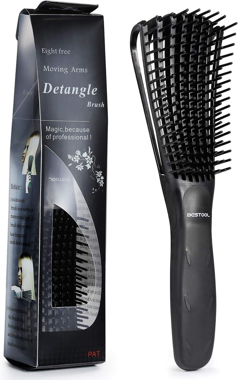 BESTOOL Cepillo para alisar el cabello Cepillos para desenredar el cabello suave y de gran tamaño, de nylon, antiestático, apta para el desenredador natural del cabello (negro)