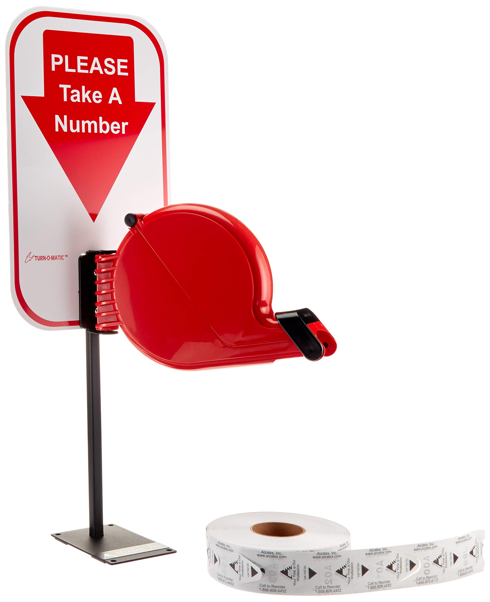 Alzatex Take-a-Number System Ticket Dispenser Includes one roll of T-80 Two-Digit x 3000 Tickets, Please Take A Number Sign and Counter top Stand for Waiting line Management