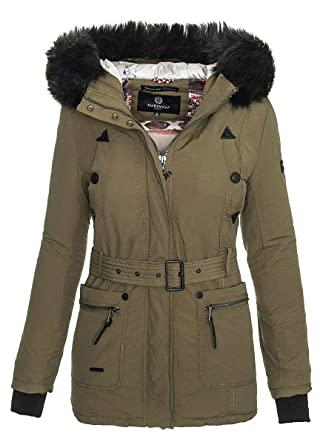 f992301c65a0 Marikoo Damen Designer Winter Jacke mit Abnehmbarem Fellkragen B360   Amazon.de  Bekleidung