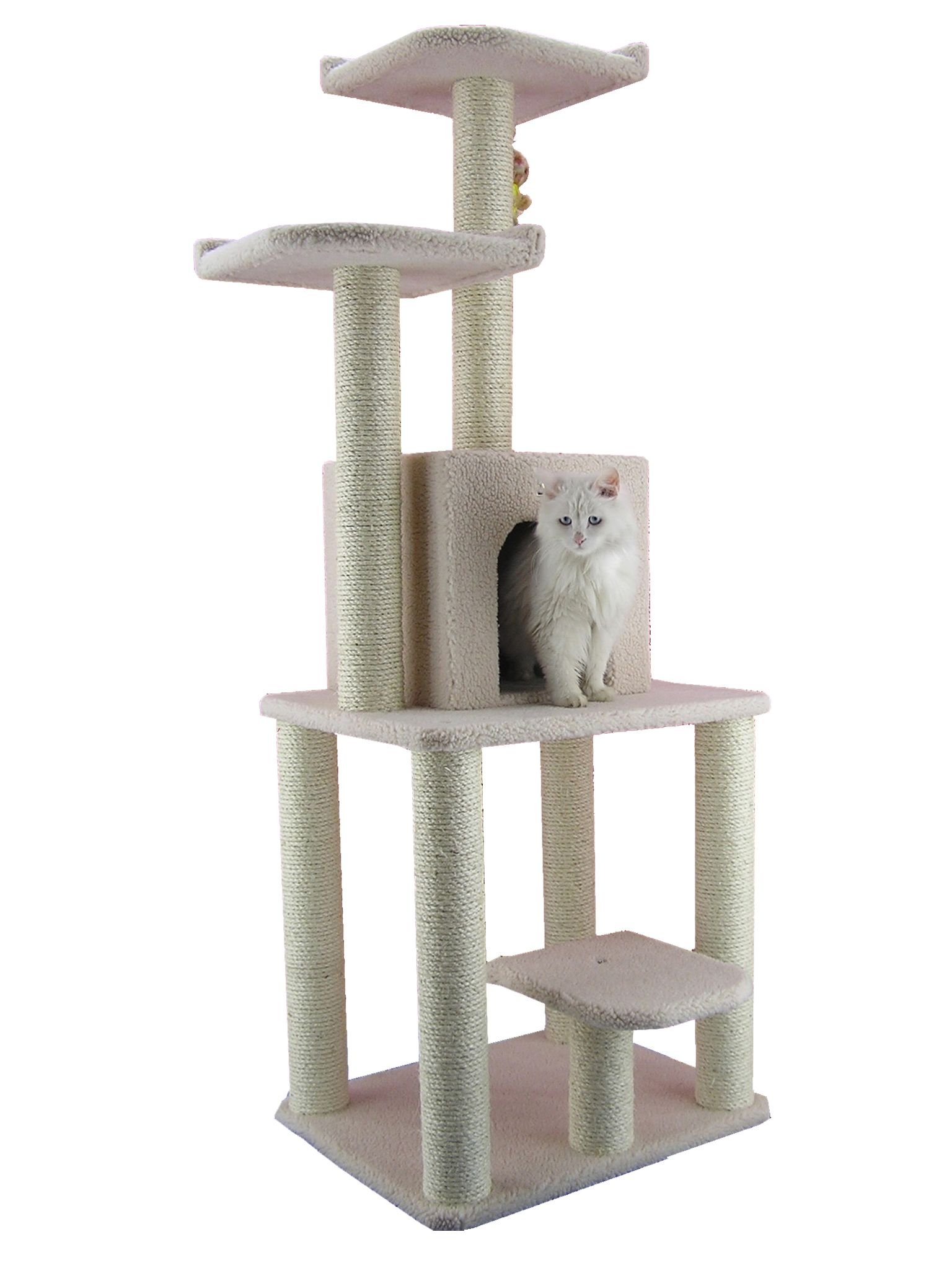 Armarkat Cat tree Furniture Condo Height- 60-Inch to 70-Inch Ivory
