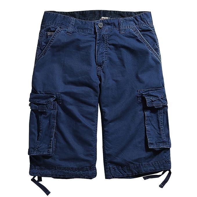 3dcafac466f Lau s marino Hombre 30 Shorts Pantalones Pantalón Hombres Cortos  Multibolsillos para de Cargo Azul Bermudas ACAfTqwrX