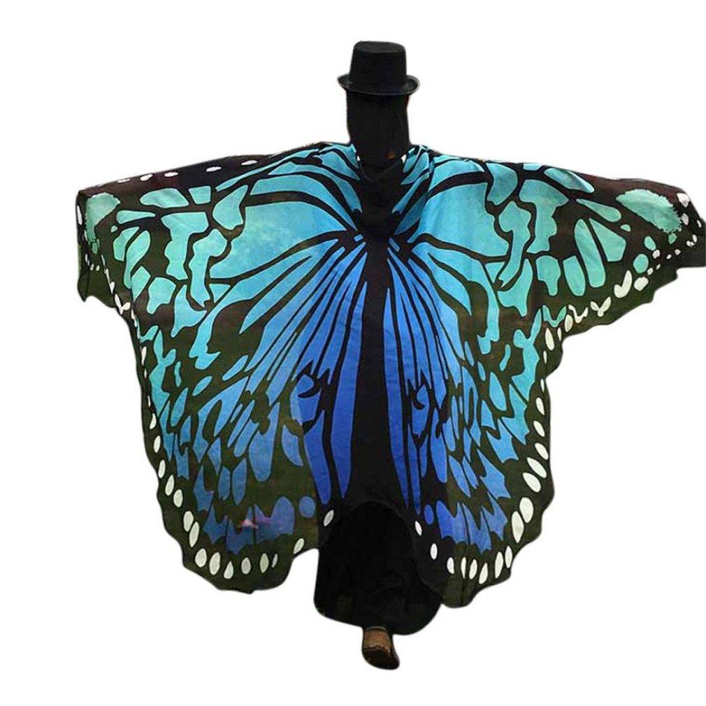 ♬Femmes Cache-maillots et sarongs Châle Ailes de Papillon Multicolore Bikini de plage Maillot De Bain Grande Taille en Tissu Mou Fée Dames Nymphe Pixie Costume GongzhuMM (Taille unique, Bleu)