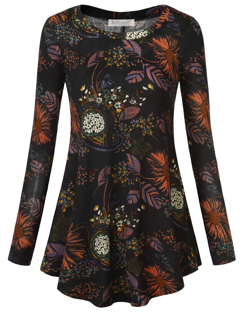 Ladies Blouses, BAISHENGGT Women's Printed Casual Knit Shirts Long Sleeve Tunic Tops Blouse Black Floral 3 Medium