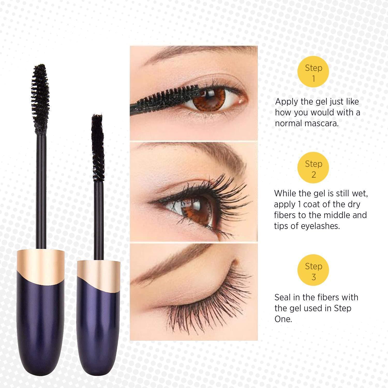 St Mege 4D Silk Fiber Lash Mascara  Fiber 2in1 Set Best for Thickening and Lengthening Waterproof