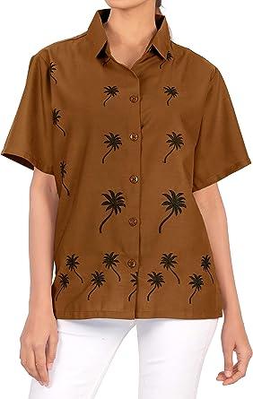 Blusas de la Camisa Hawaiana botón de Ajuste Relajado Mujer Mangas Cortas hasta la Parte Superior de Color marrón: Amazon.es: Ropa y accesorios