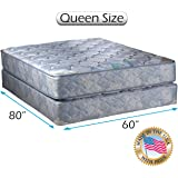 """Chiro Premier Gentle Firm Orthopedic (Blue Color) Queen Size 60""""x80""""x9"""" Mattress and Box Spring Set - Fully Assembled, Good for your back,, Long Lasting and 2 Sided by Dream Solutions USA"""