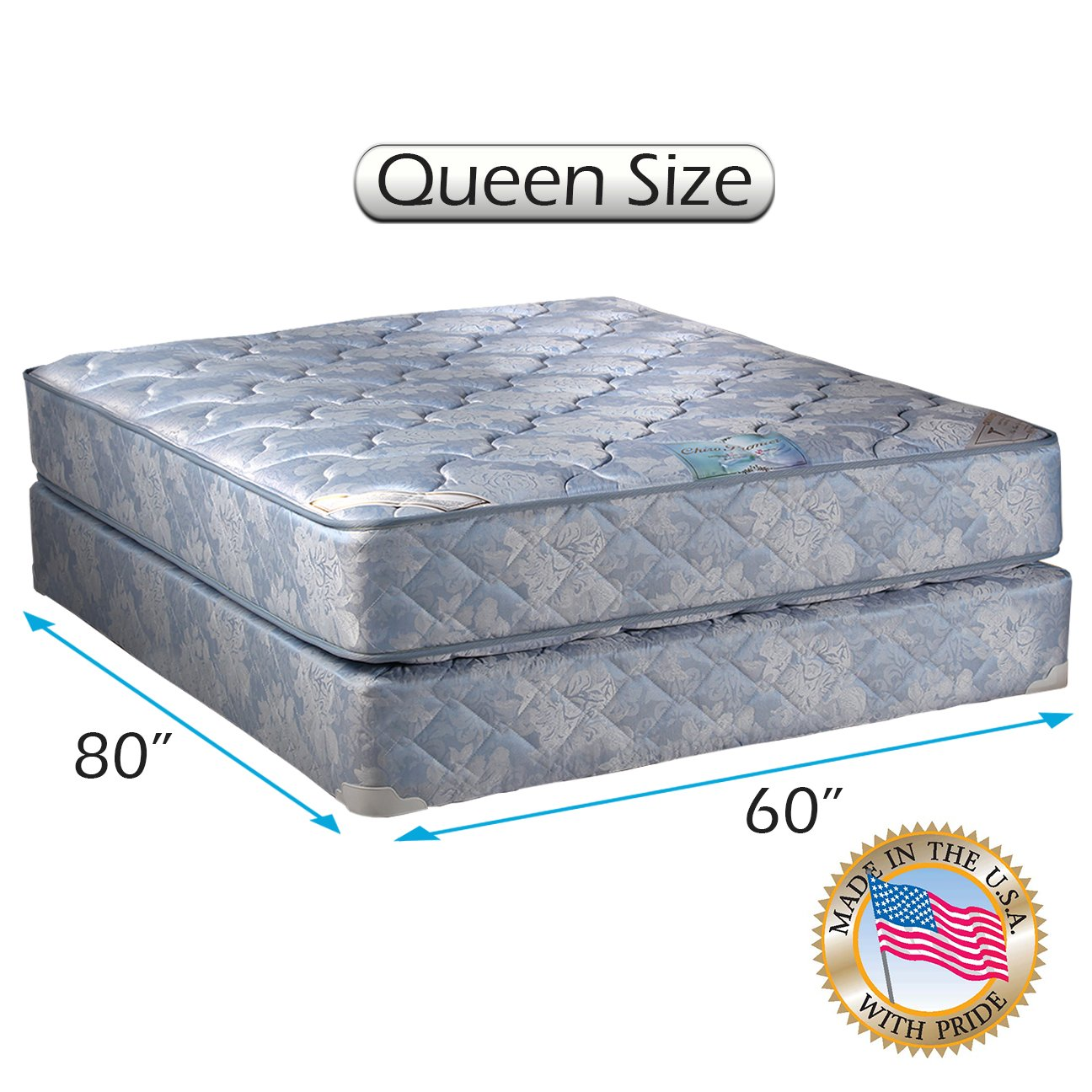 Chiro Premier Gentle Firm Orthopedic (Blue Color) Queen Size 60''x80''x9'' Mattress and Box Spring Set - Fully Assembled, Good for Your Back, Long Lasting and 2 Sided by Dream Solutions USA