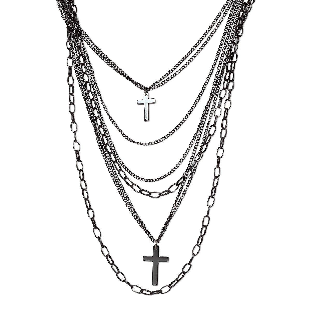Multi Strand Black Gunmetal Plated Steel Drape Chains and Crosses 80's Gothic Punk Retro Fashion Necklace