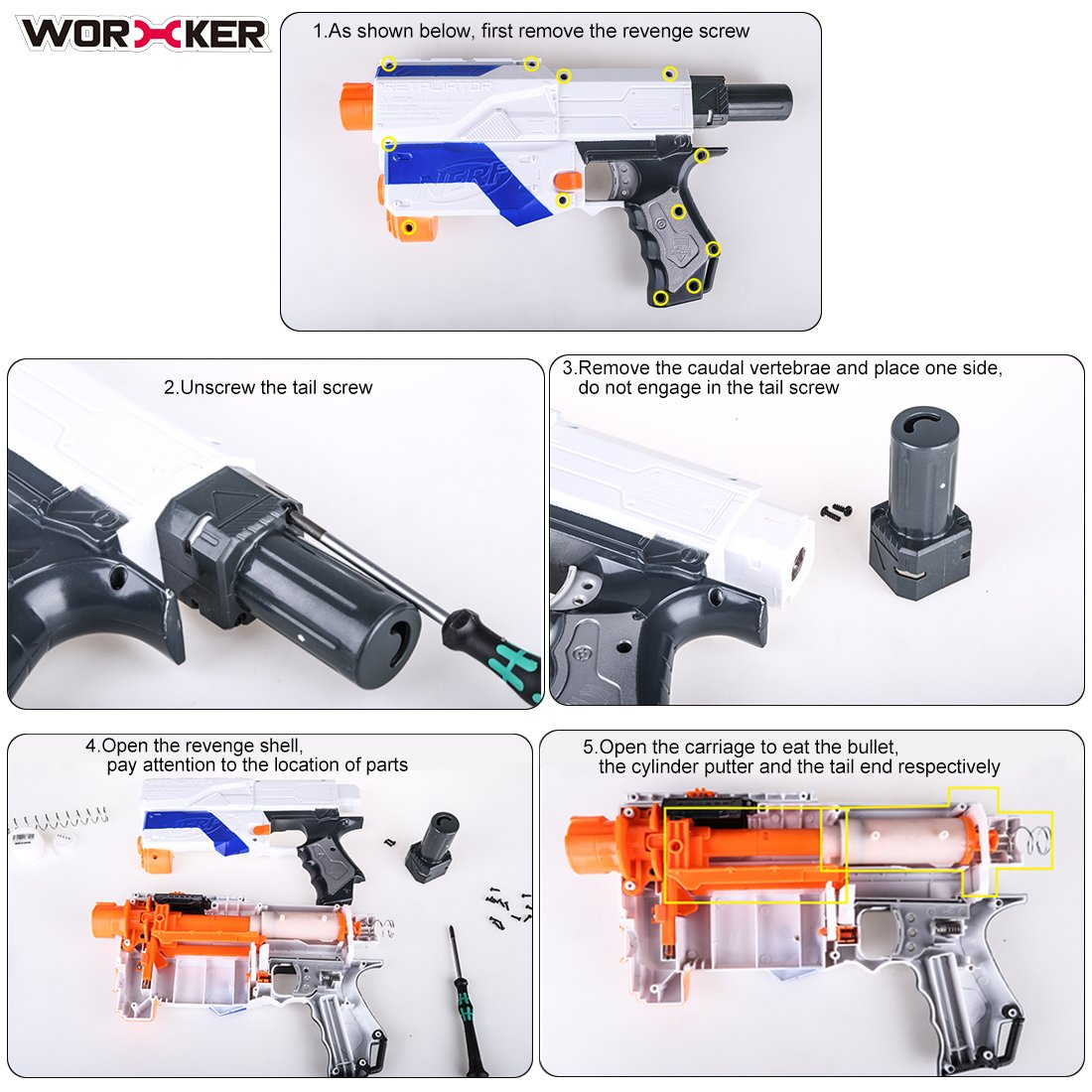 Amazon.com: Upgrade Spring, Yamix Worker 12KG Modification Upgrade Spring Kit for nerf n-strike elite retaliator - Silver: Toys & Games