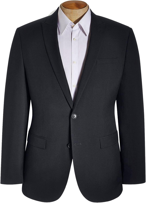HBDesign Mens 3 Piece 2 Button Peak Lapel Slim Trim Fit Formal Tux