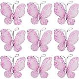 50pcs Papillons de Bas de Maille Scintillants - Rose