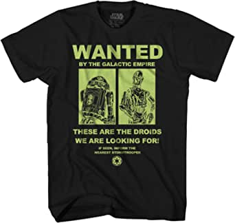 STAR WARS Droids Wanted R2D2 R2-D2 C3PO C-3PO Funny Humor Pun Adult Men's Graphic Tee T-Shirt Apparel