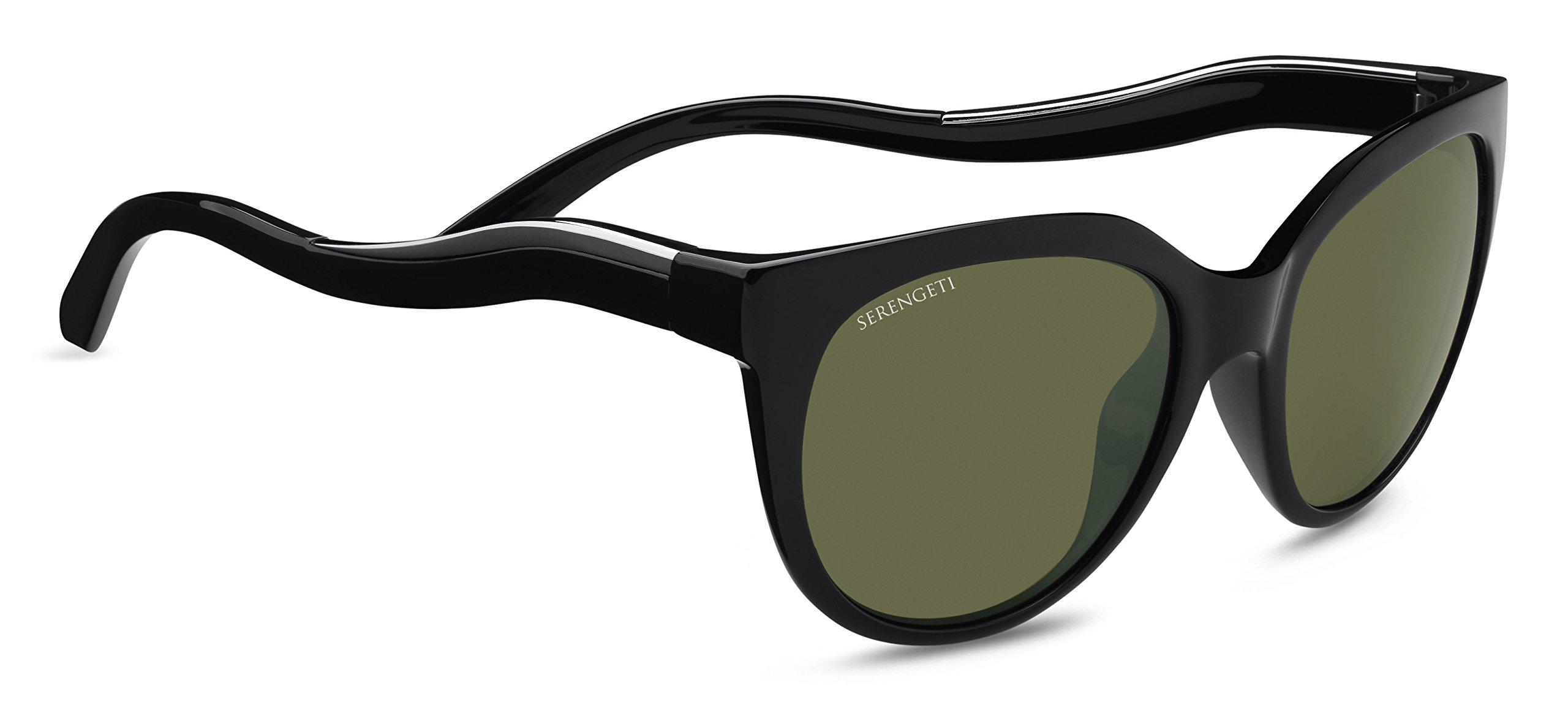 Serengeti Lia Sunglasses Shiny Black/Shiny Silver, Green