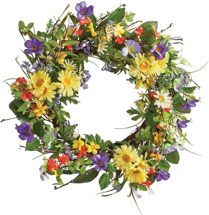 Wild daisy floral twig door wreath